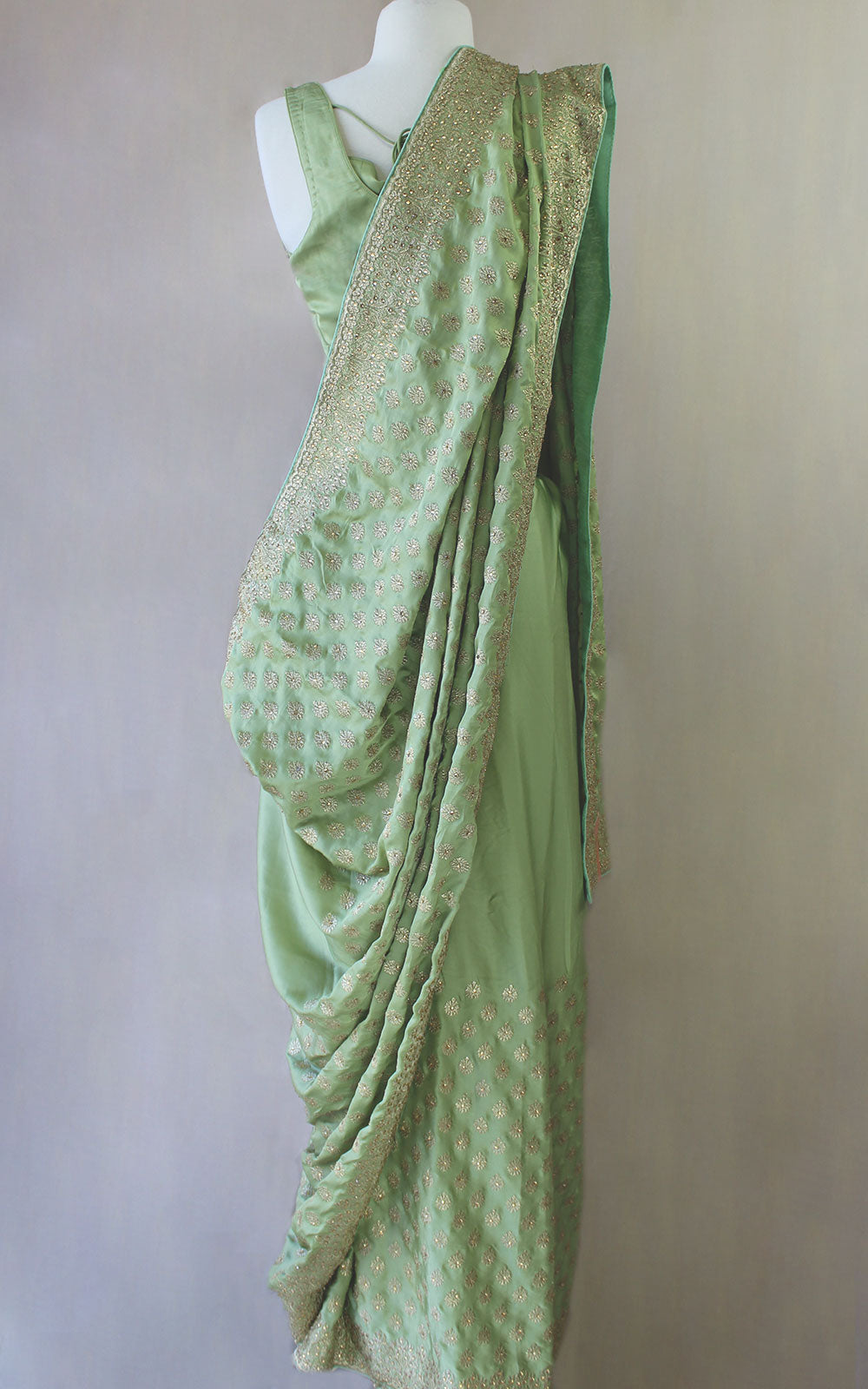 Mint Zari Stone Saree