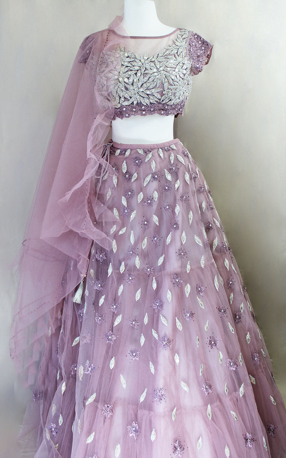 Dusty Lilac Pearl and Sequins Lehenga