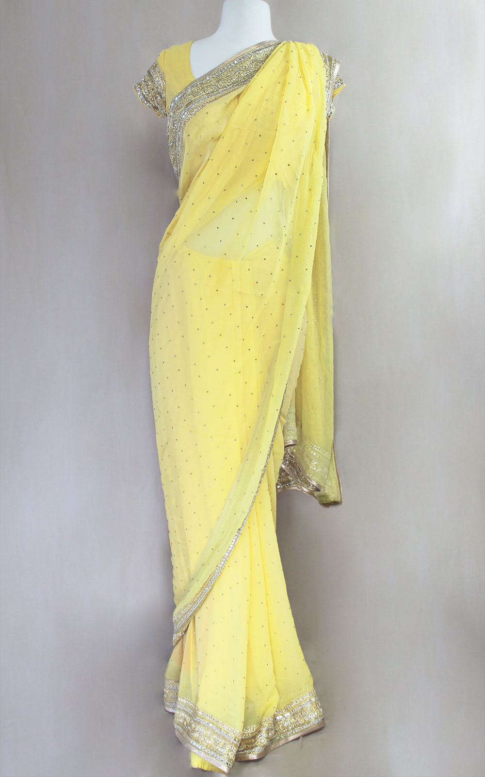 Yellow Cut Dana Saree