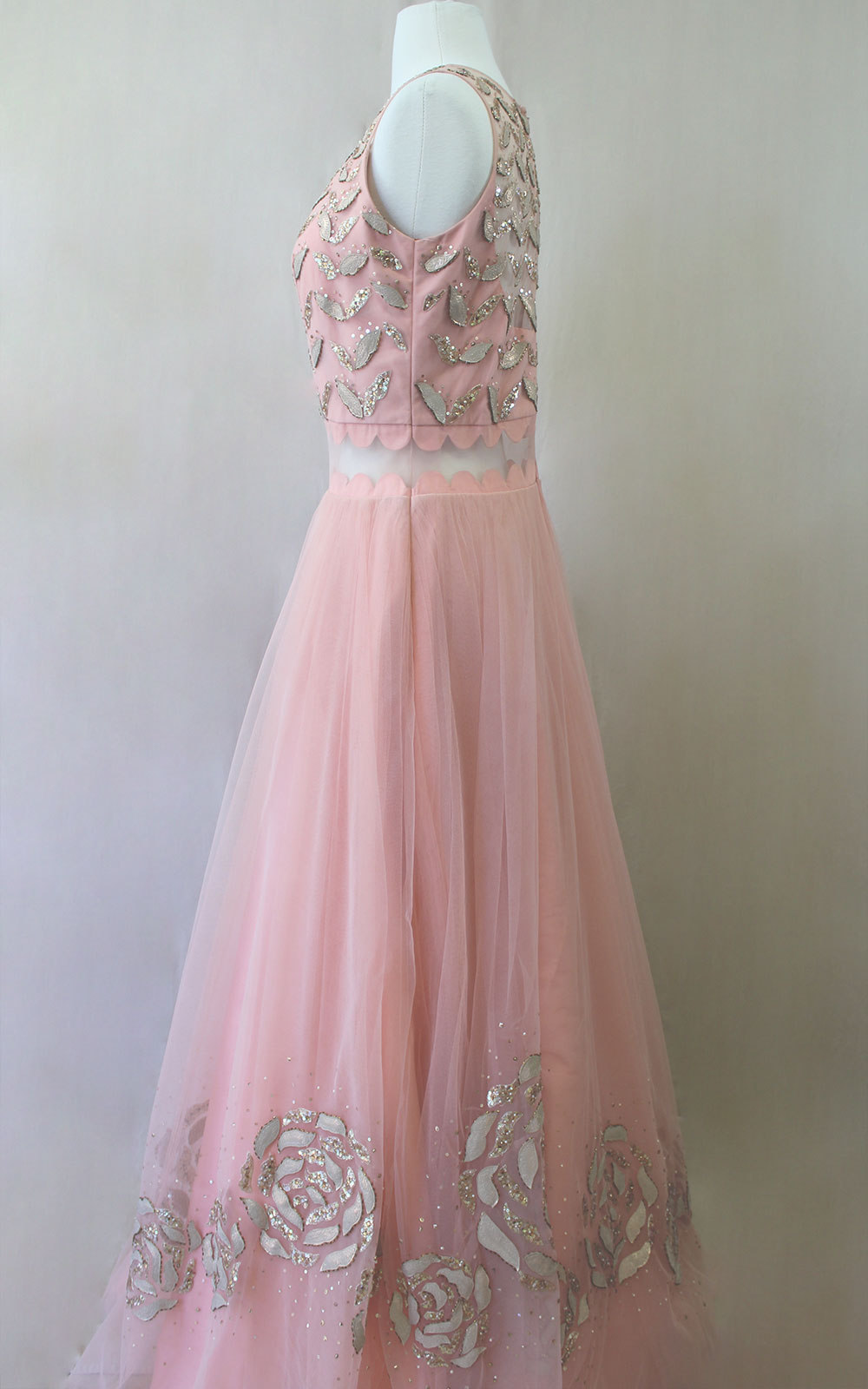 Peach Pearl Sequins Gown