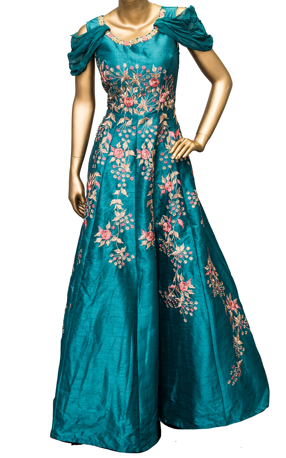 Rama Green Thread Floral Gown