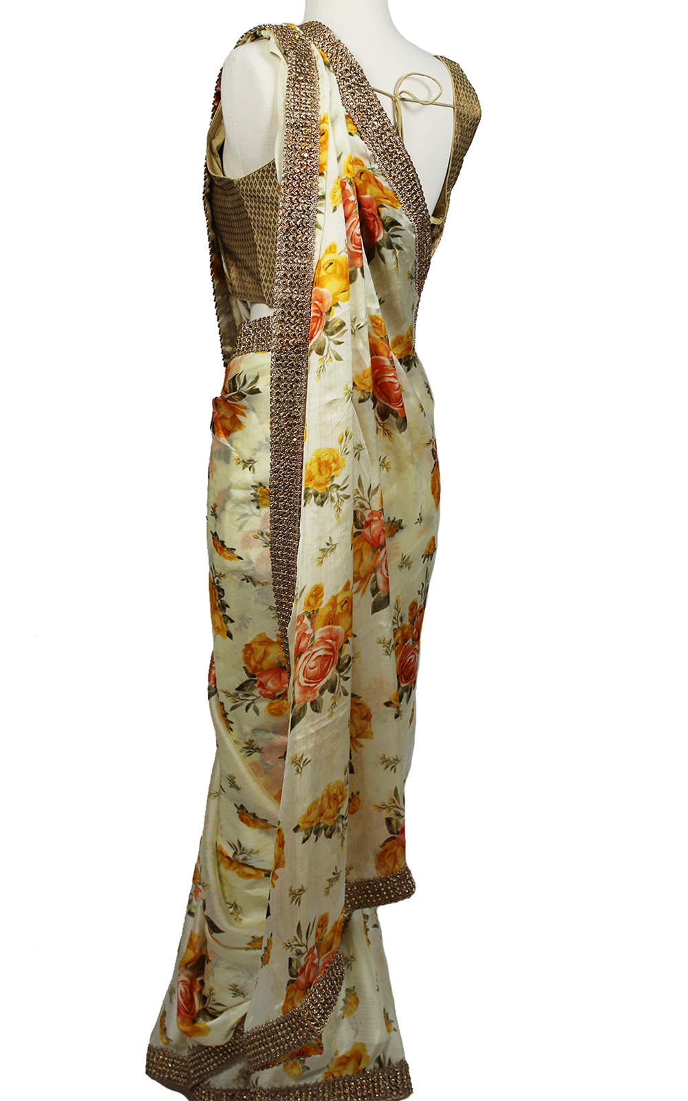 Floral Printed Saree with Gold Blouse