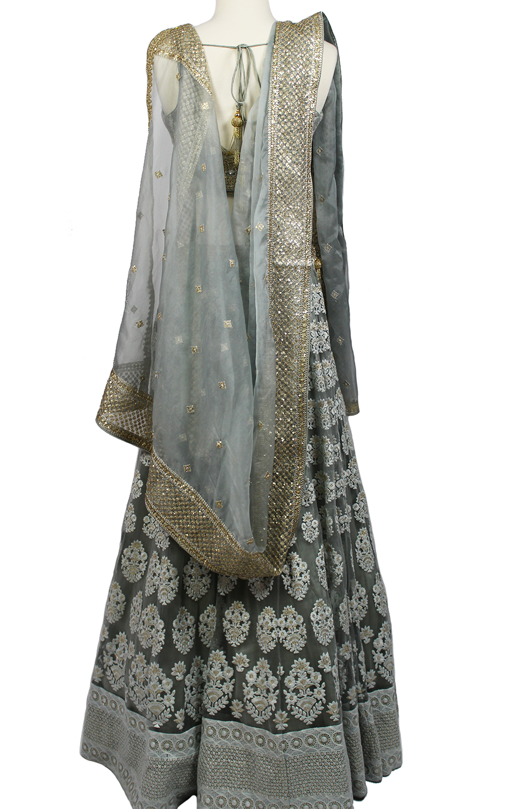 White Thread Embroidery Lehenga
