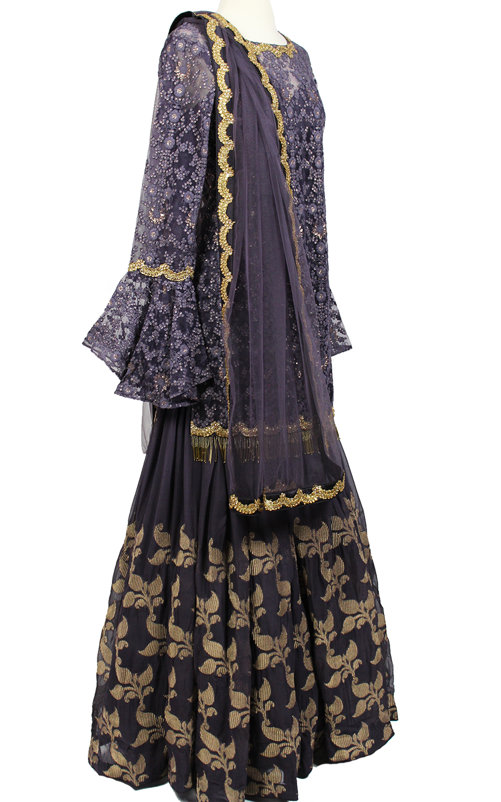 Purple Lehenga with Long Flare Top