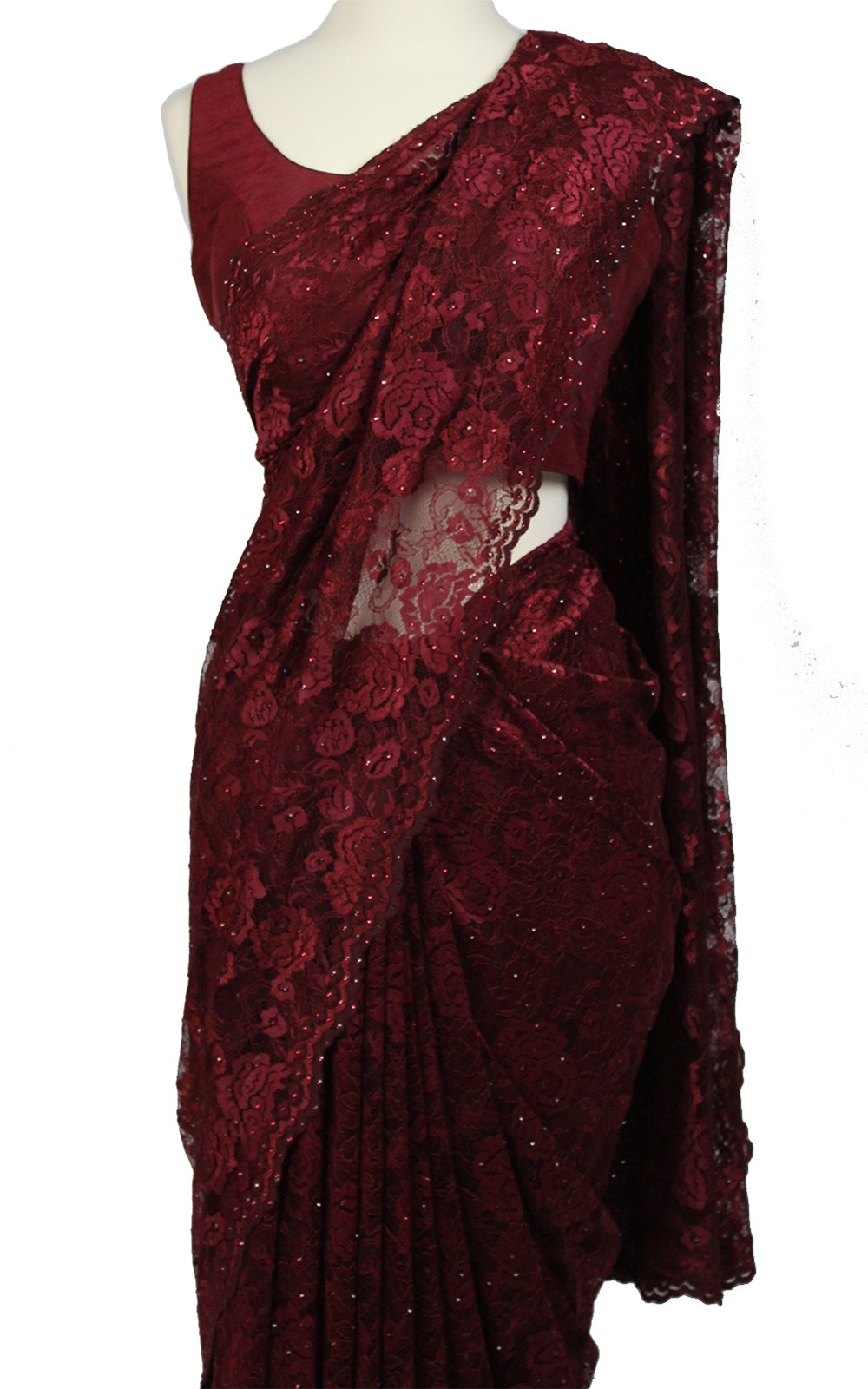 Deep Rose Lace Swarovski Saree