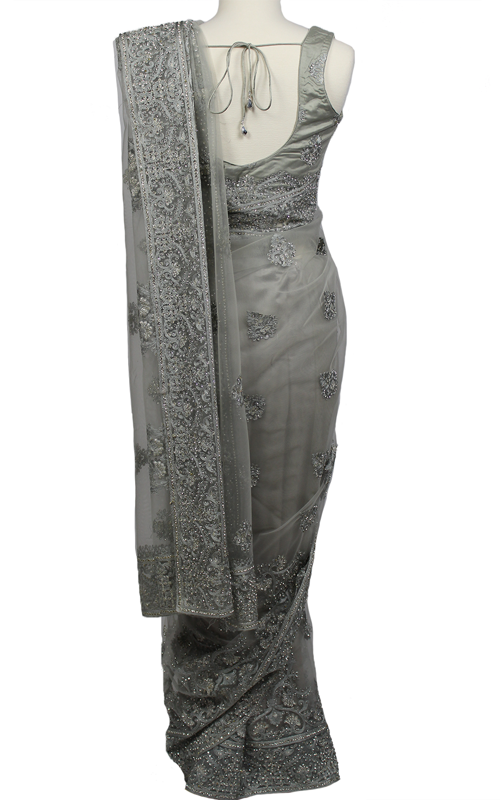 Dusty Grey Tonal Embroidery Saree