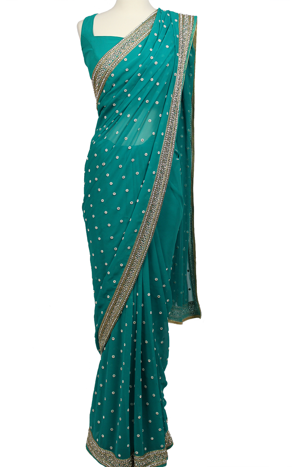 Teal Pearl Embroidery Saree