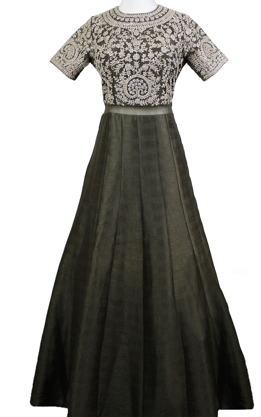 Olive Green Anarkali with Silver Threadwork