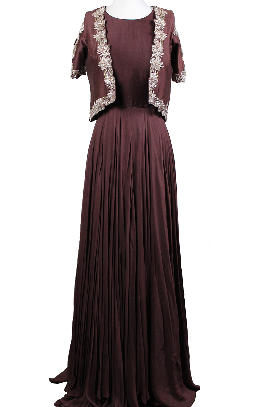 Burgundy Gown with Slit Jacket