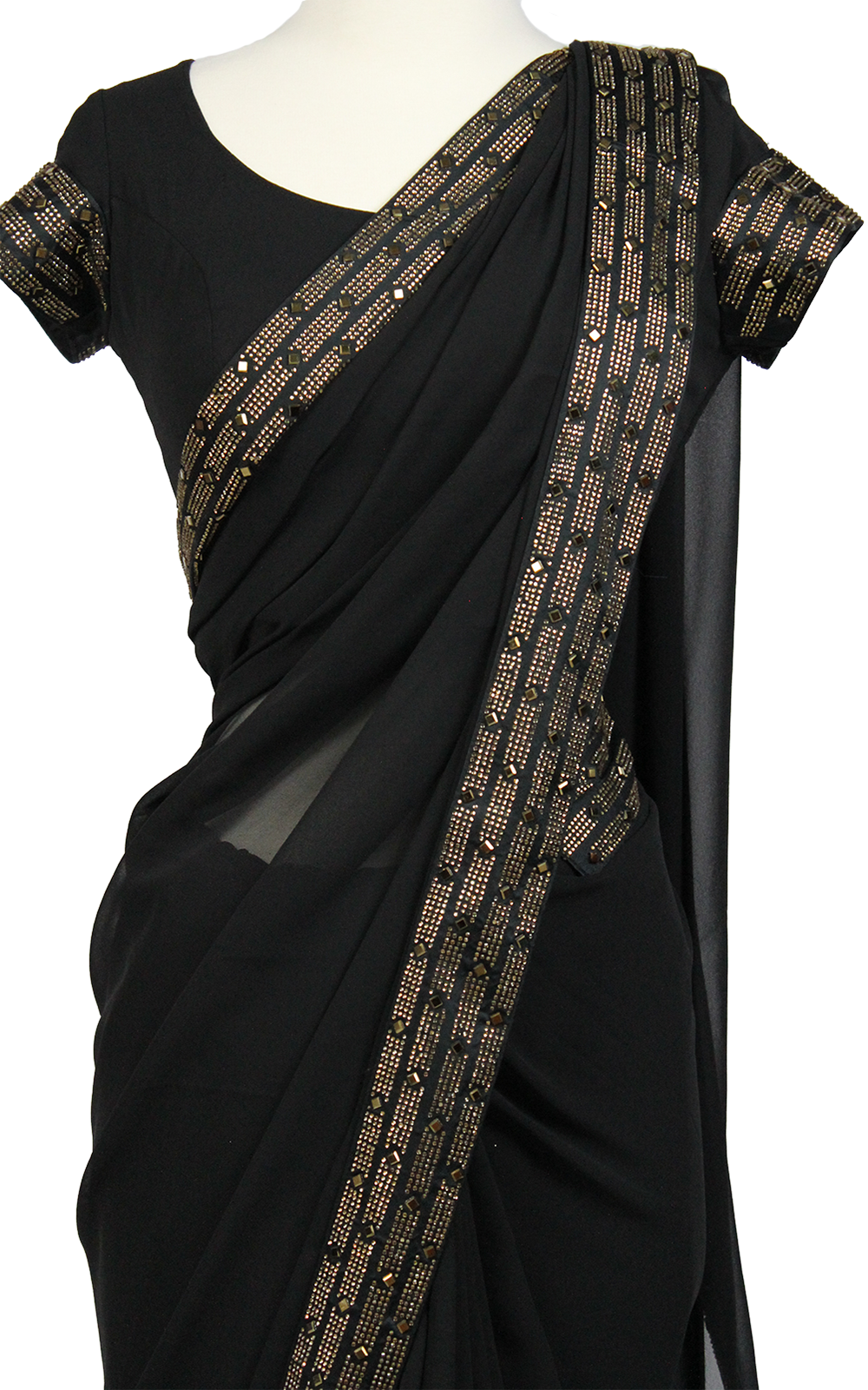 Gold Swarovski Diamond Saree