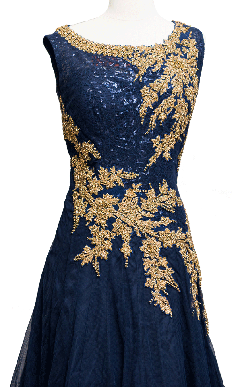 Petrol Blue Sequins Gown