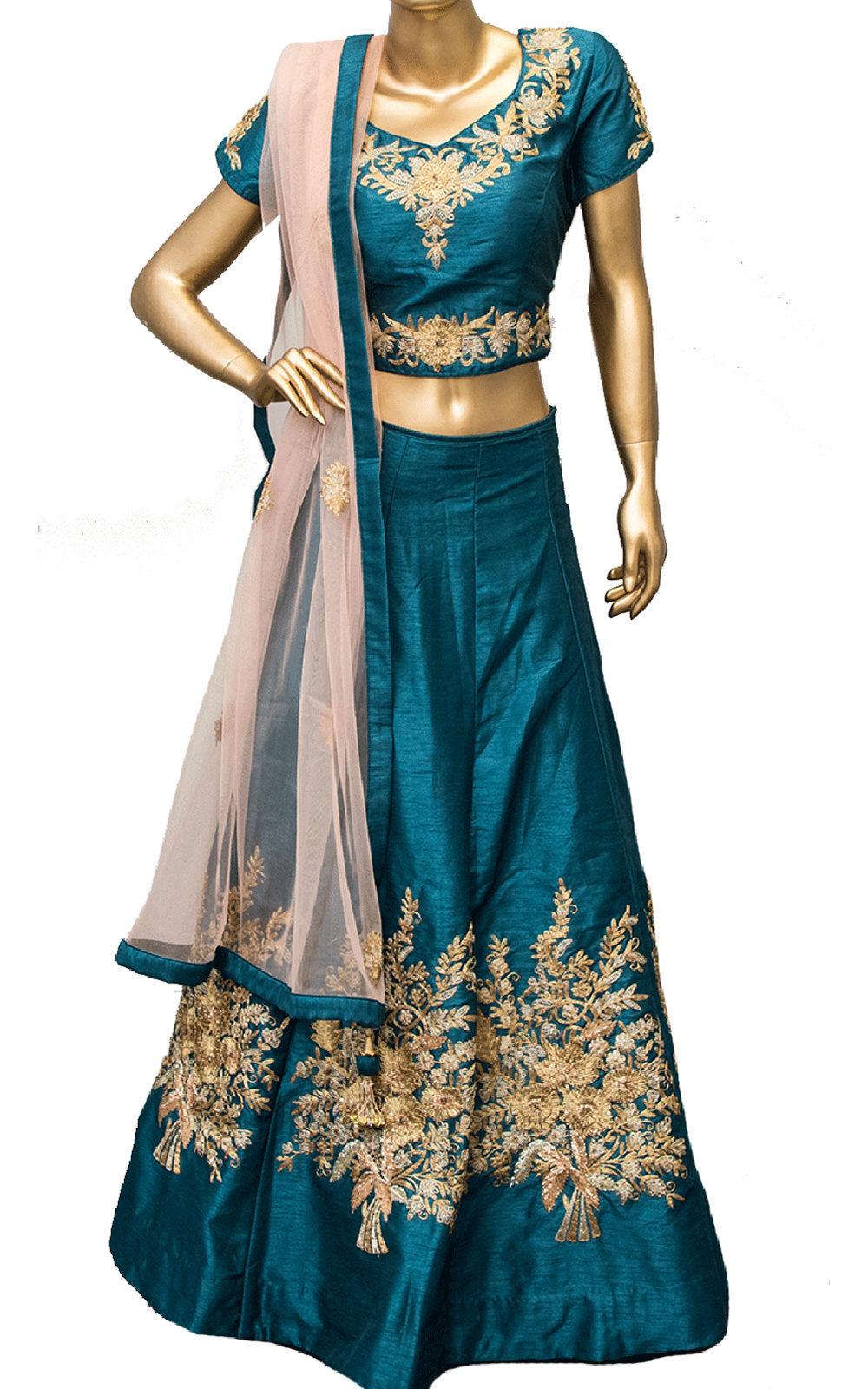 Rama Green Lehenga with Blush Dupatta