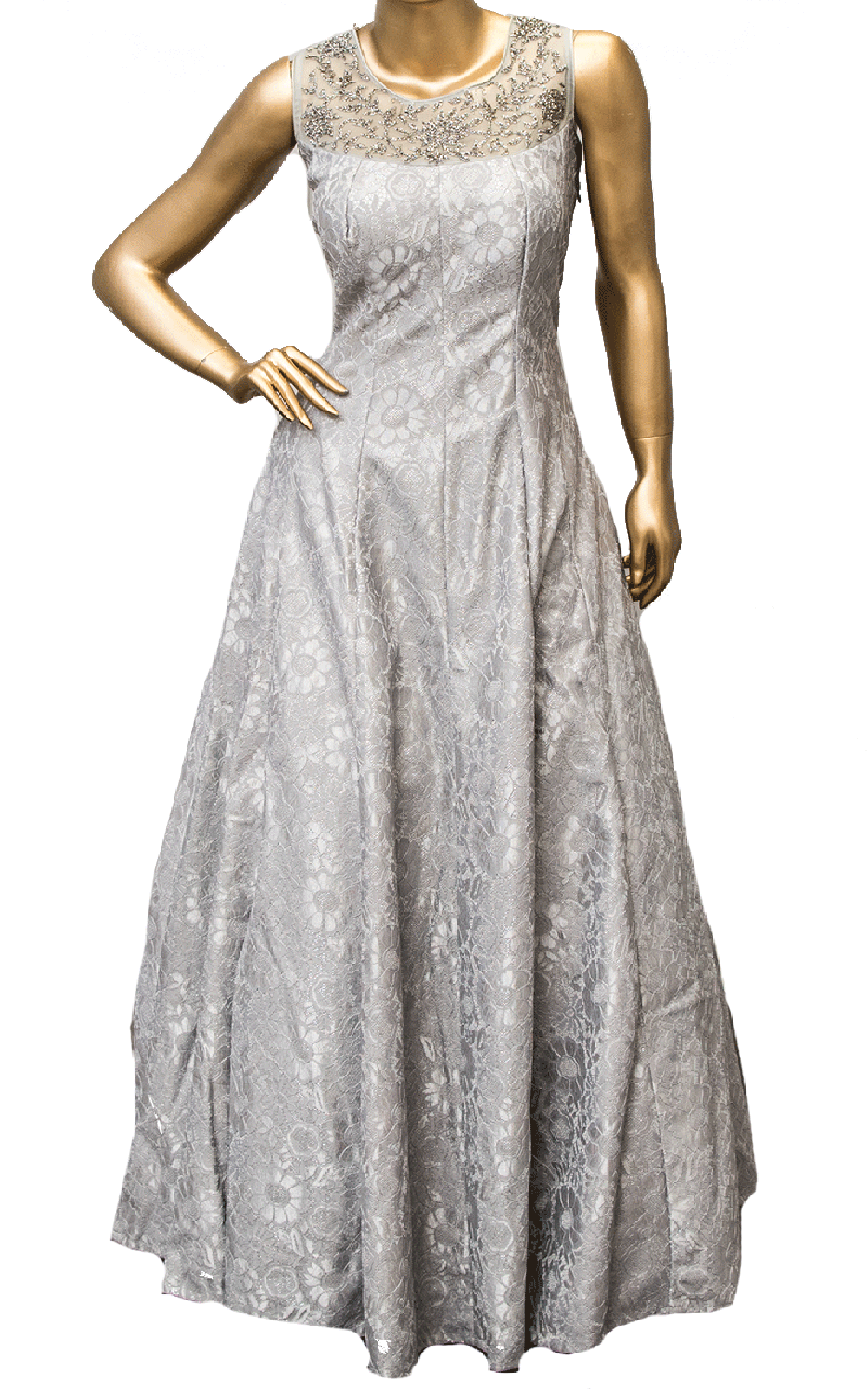 Grey Floral Lace Gown