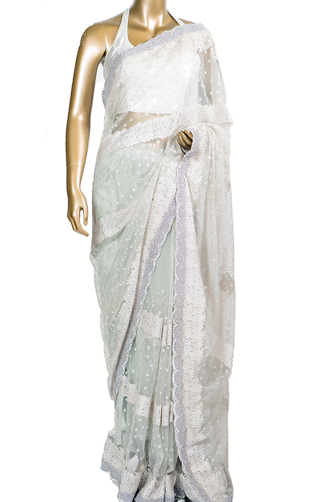 Grey Saree with Pearl and Thread Border