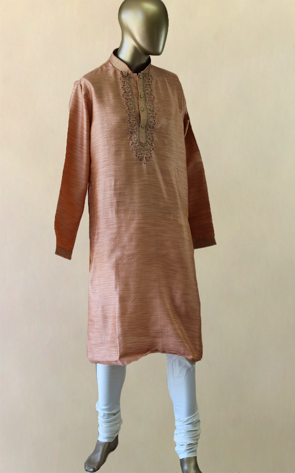 Peach Gold Thread Kurta Pajama