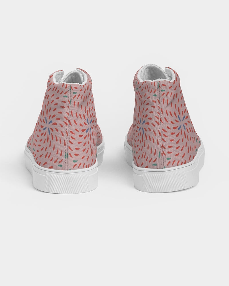 Pink Firework Women's Hightop Canvas Shoe