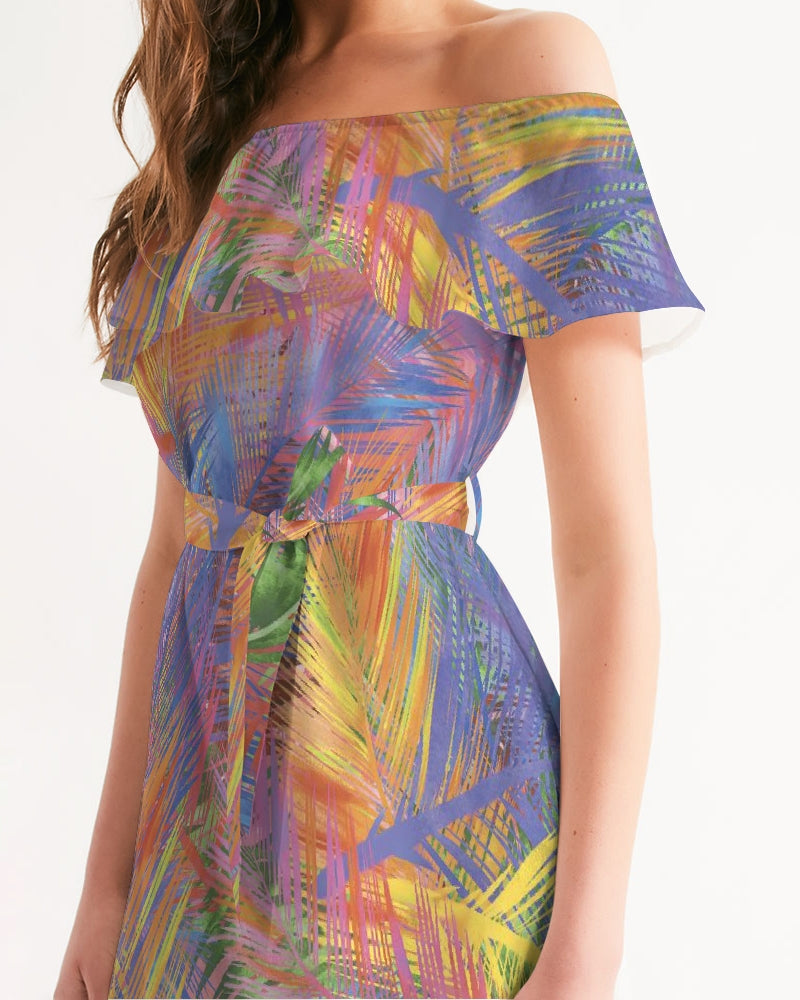 Flolige Colorful Women's Off-Shoulder Dress