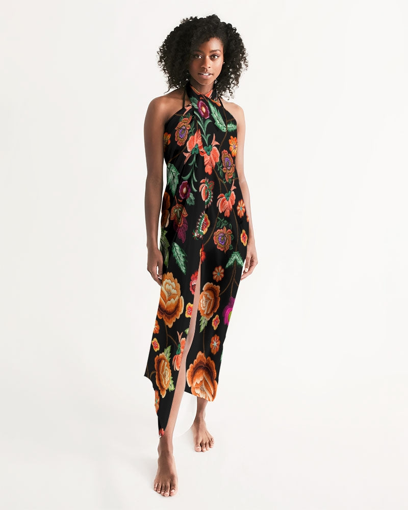 Embroidery Flowers Swim Cover Up