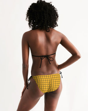 Yellow Plaid Women's Triangle String Bikini