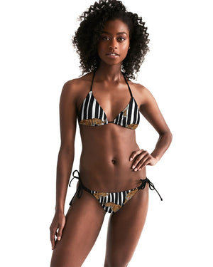 Tiger Print Women's Triangle String Bikini
