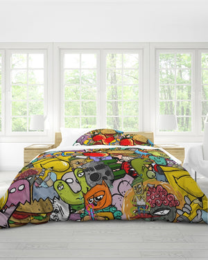 Crowded Street Queen Duvet Cover Set