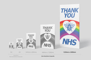 'Thank you NHS' Sign Board - 2400mm x 1220mm (2 Colours) - Aluminium only