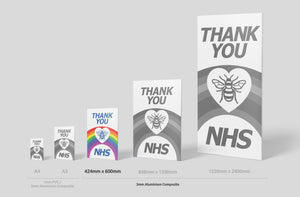 'Thank you NHS' Sign Board - 600mm x 424mm (2 Colours) - Aluminium only
