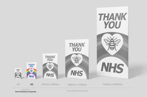 'Thank you NHS' Sign Board - A3 Size (2 Colours) - PVC or Aluminium