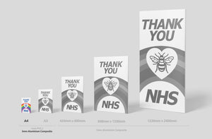 'Thank you NHS' Sign Board - A4 Size (2 Colours) - PVC or ALUMINIUM