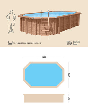 Piscina Madeira - SEA BREEZE - 6,07X3,96X1,31 (MT)