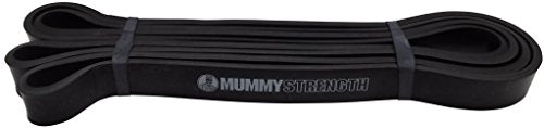 MummyStrength Resistance Bands for Men and Women. The Best Stretch Band for Pull Up Exercise and Powerlifting. Works with Any Pull Up Bar or Station. Single Band. Workout Guide Included - Black