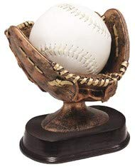 Decade Awards Softball Glove Ball Holder Trophy, Bronze - Game Ball Holder Award - 6 Inch Tall - Engraved Plate on Request