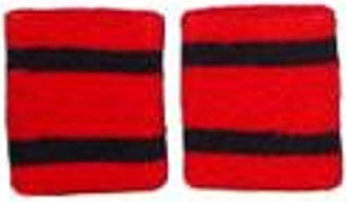 Striped Wristbands Pair Red/Black