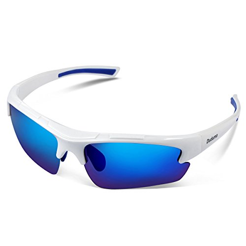Duduma Polarized Designer Fashion Sports Sunglasses for Baseball Cycling Fishing Golf Tr62 Superlight Frame (White/Blue)
