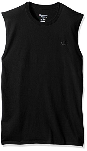 Champion Men's Classic Jersey Muscle T-Shirt, Black, L