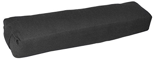 YogaAccessories Pranayama Cotton Yoga Bolster, Black