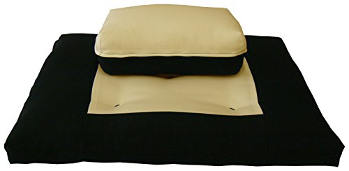 D&D Futon Furniture Zabuton Zafu Set, Yoga, Meditation Seat Cushions, Kneeling, Sitting, Supporting Exercise Pratice Zabuton & Zafu Cushions. (Tan)
