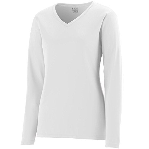 Augusta Sportswear Women's Long Sleeve Wicking T Shirt, White, Xxx Large