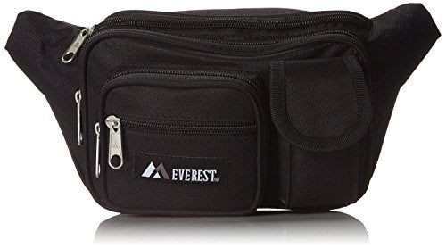 Everest 044MDH Multiple Pocket Fanny Pack (Price/Each), Everest Fanny Pack-Black