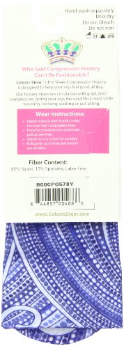 Celeste Stein Therapeutic Compression Socks, Denim Dotty, 15-20 mmhg, 1-Pair