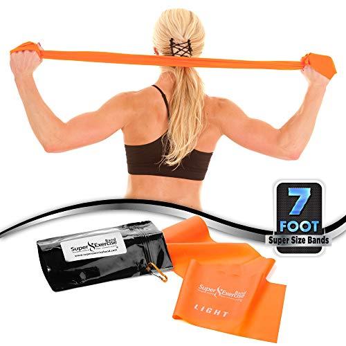 Flat Resistance Bands. Super Exercise Band Usa. 7 Ft. Long Latex Free. Door Anchor, Carry Pouch, E B