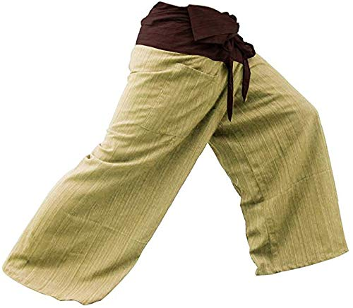 Miss Bangkok 2 Tone Thai Fisherman Pants Yoga Trousers Free Size Plus Size Cotton