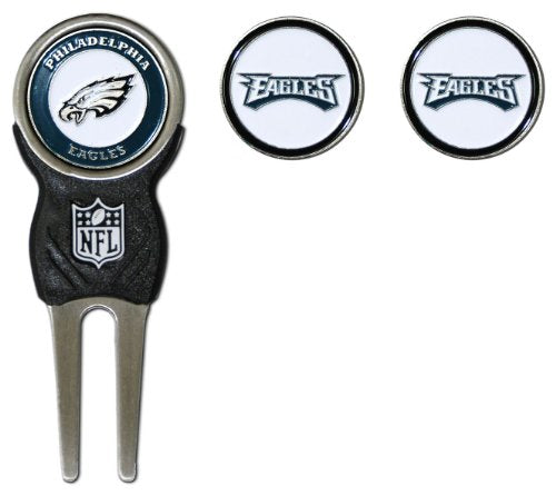 Team Golf NFL Philadelphia Eagles Divot Tool with 3 Golf Ball Markers Pack, Markers are Removable Magnetic Double-Sided Enamel