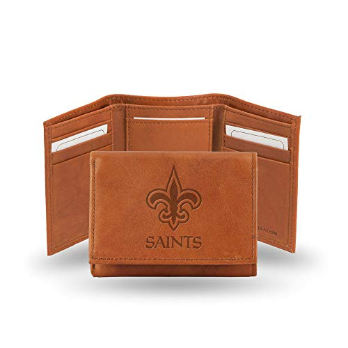 NFL New Orleans Saints Embossed Leather Trifold Wallet, Tan