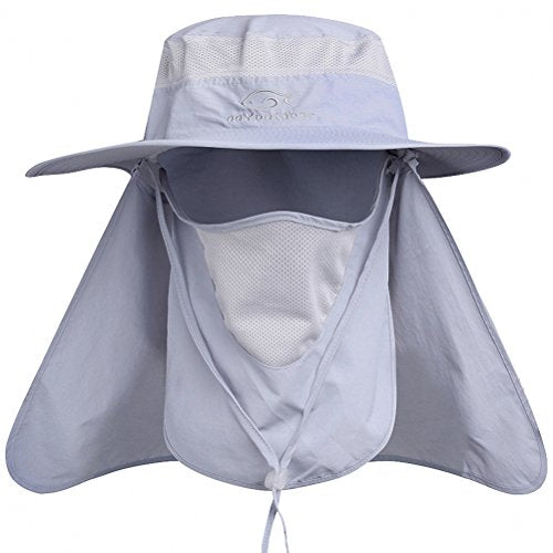 DDYOUTDOOR 07-281 Fashion Summer Outdoor Sun Protection Fishing Cap Neck Face Flap Hat Wide Brim (Gray)