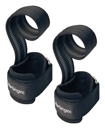 Harbinger 360531  Big Grip No-Slip Nylon Lifting Straps with DuraGrip (Pair), Pro,Black