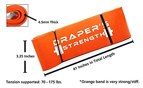 "Draper's Strength Heavy Duty Pull Up Assist and Powerlifting Stretch Bands (Single Band or Set) 41-inch #7 Orange (70-175 lbs) 3-1/4"" x 41"" Long"