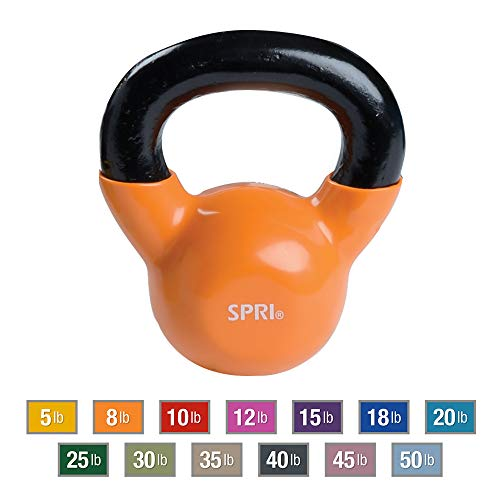 SPRI Kettlebell Weights Deluxe Cast Iron Vinyl Coated Comfort Grip Wide Handle Color Coded Kettlebell Weight Set (Orange, 8-Pound)