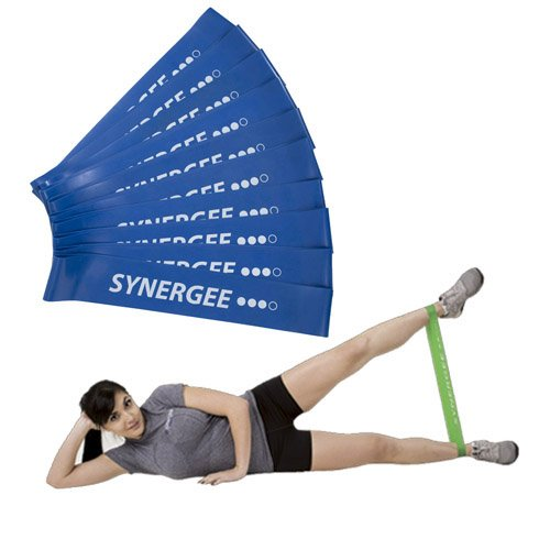 Synergee 10 Pack Mini Band Resistance Loop Exercise Bands Blue Heavy Resistance