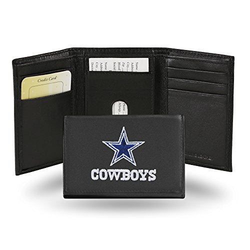 NFL Dallas Cowboys Embroidered Genuine Cowhide Leather Trifold Wallet